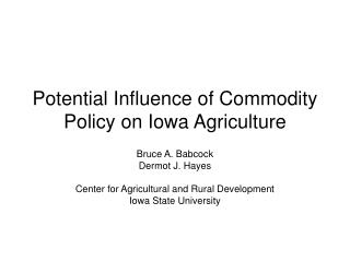Potential Influence of Commodity Policy on Iowa Agriculture
