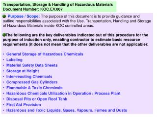 Transportation, Storage & Handling of Hazardous Materials Document Number: KOC.EV.007