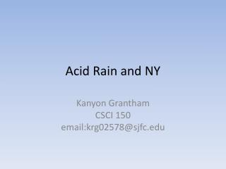 Acid Rain and NY