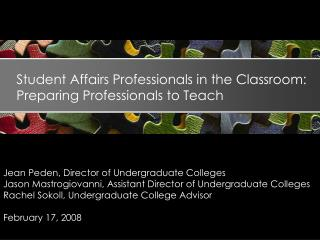 Student Affairs Professionals in the Classroom: Preparing Professionals to Teach