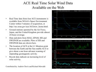 ACE Real Time Solar Wind Data  Available on the Web