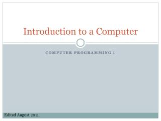 Introduction to a Computer