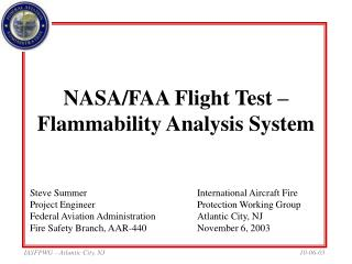 NASA/FAA Flight Test –Flammability Analysis System