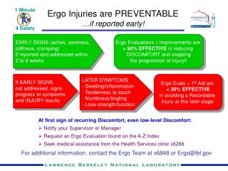 Ergo Injuries are PREVENTABLE … if reported early!