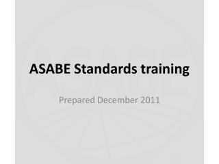 ASABE Standards training