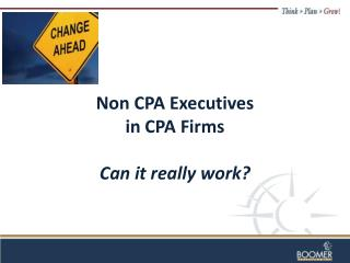 Non CPA Executives  in  CPA  Firms Can it really work?