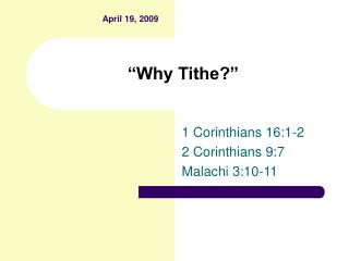 """Why Tithe?"""