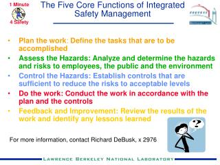 The Five Core Functions of Integrated Safety Management