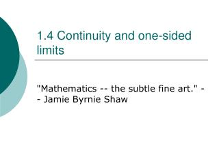 1.4 Continuity and one-sided limits