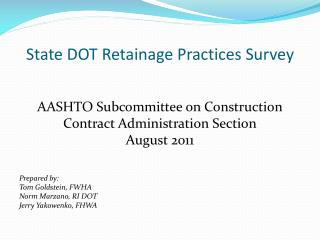 State DOT Retainage Practices Survey