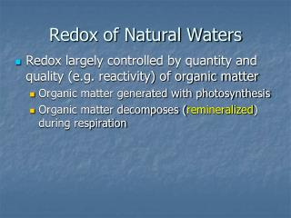 Redox of Natural Waters