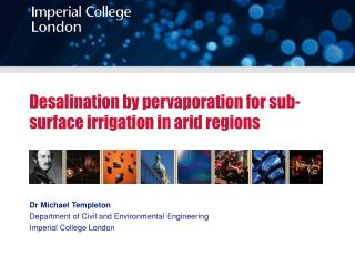 Desalination by pervaporation for sub-surface irrigation in arid regions