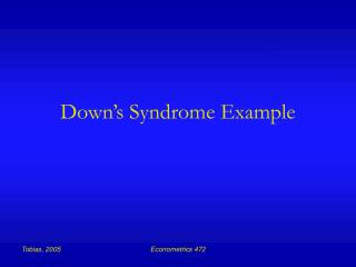 Down's Syndrome Example