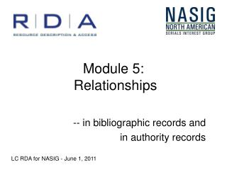 Module 5:  Relationships