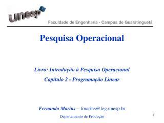 Faculdade de Engenharia - Campus de Guaratinguetá