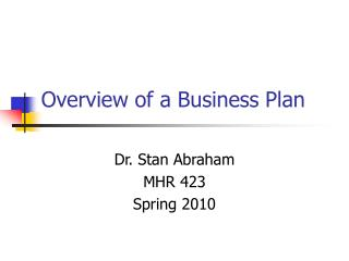 Overview of a Business Plan