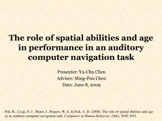 The role of spatial abilities and age in performance in an auditory computer navigation task