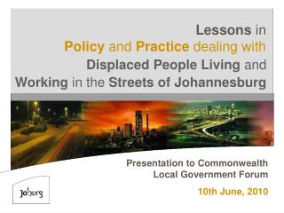 Presentation to Commonwealth Local Government Forum 10th June, 2010