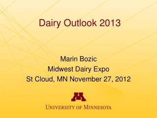 Dairy Outlook 2013