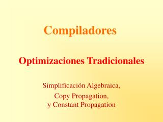 Optimizaciones Tradicionales