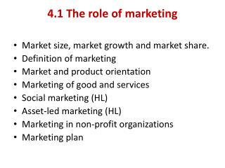 4.1 The role of marketing
