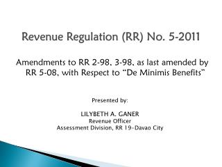 Revenue Regulation (RR) No. 5-2011