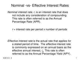 Nominal -vs- Effective Interest Rates