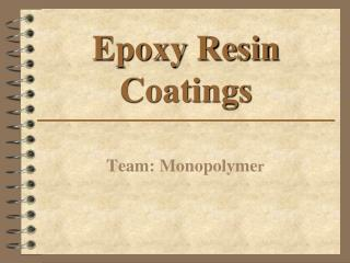Epoxy Resin Coatings