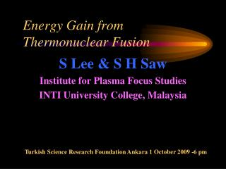 Energy Gain from Thermonuclear Fusion