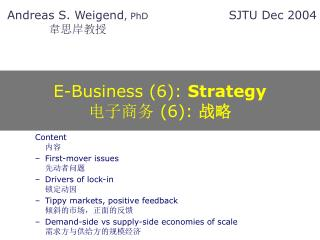 E-Business (6):  Strategy 电子商务 (6):  战略