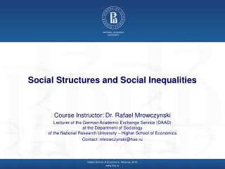 Social Structures and Social Inequalities