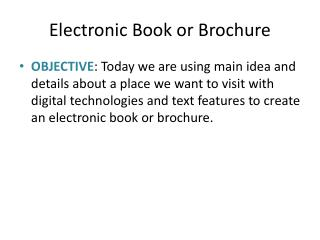 Electronic Book or Brochure