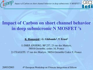 Impact of Carbon on short channel behavior in deep submicronic N MOSFET 's