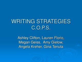 WRITING STRATEGIES C.O.P.S.