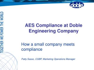 AES Compliance at Doble Engineering Company