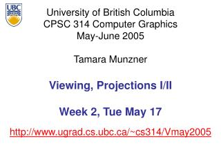 Viewing, Projections I/II Week 2, Tue May 17