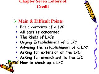 Chapter Seven Letters of Credit