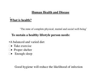 Human Health and Disease What is health?