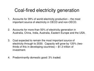 Coal-fired electricity generation