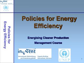 Policies for Energy Efficiency Energising Cleaner Production Management Course