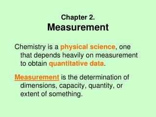 Chapter 2. Measurement