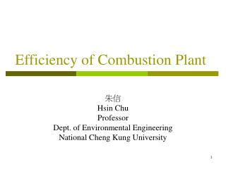 Efficiency of Combustion Plant