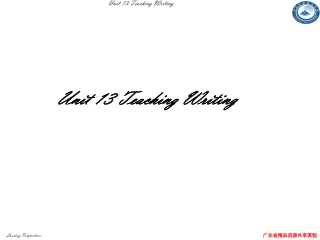 Unit 13 Teaching Writing