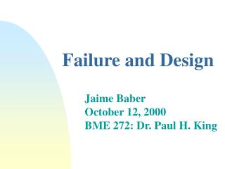 Failure and Design