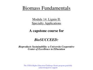 Biomass Fundamentals Module  14 : Lignin II: Specialty Applications