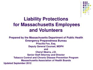 Liability Protections for Massachusetts Employees and Volunteers