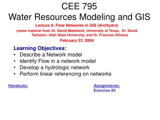 CEE 795 Water Resources Modeling and GIS