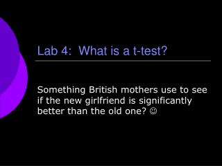Lab 4:  What is a t-test?