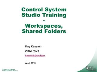 Control System Studio Training - Workspaces, Shared Folders