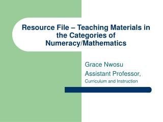 Resource File   Teaching Materials in the Categories of Numeracy